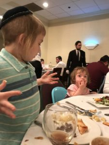 From left: Yoni and Shoshanna Aidman. The Aidmans spent Passover 2017 at a hotel in Lancaster as part of a program operated by the Jewish Heritage Center of New York and Greenwald Caterers of Lakewood, New Jersey.