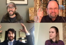 Jason Alexander, upper right, invites non-Jews Josh Groban, upper left, Darren Criss, lower left and Rachel Brosnahan to join in a virtual Seder webcast on YouTube, April 11, 2020.