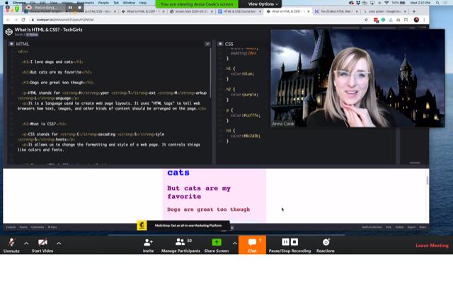 TechGirlz volunteer Anna Cook teaches a Zoom workshop on using HTML.