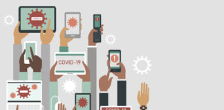 COVID-19 2019-nCoV concept. Human hands holding various smart devices with coronavirus alerts on their screens.flat vector illustration