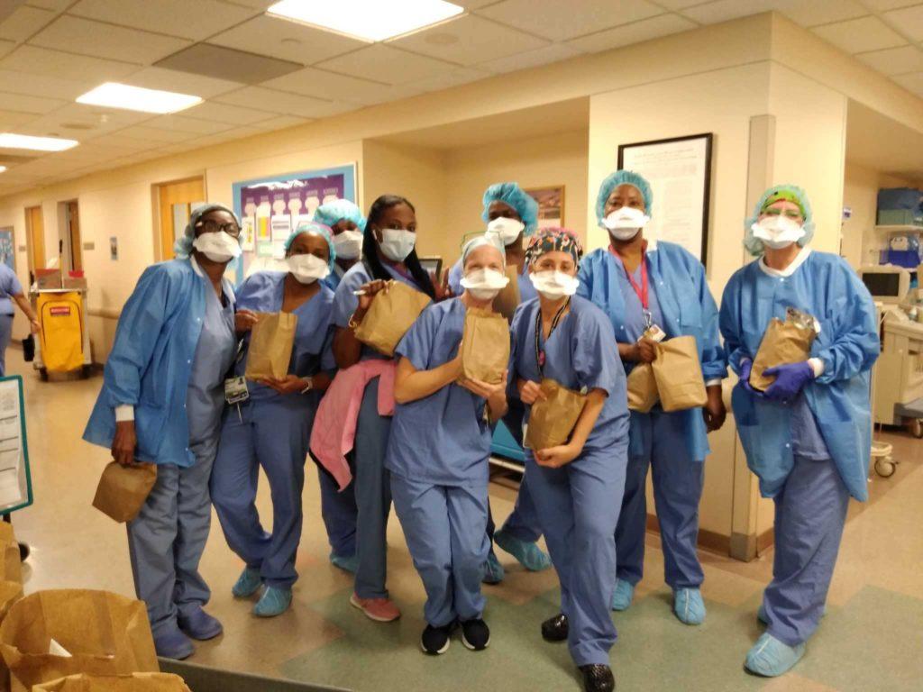 Einstein staff receive their Wellness Wednesday bags.