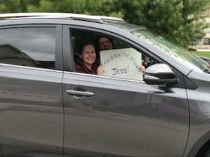 Family and friends drove by Jessica Feldman's house to congratulate her on graduating from West Chester University