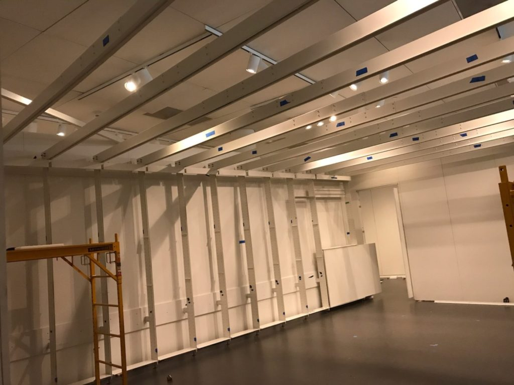 "The installation-in-progress of ""The Evidence Room,"" the exhibit that was set to open on April 17."