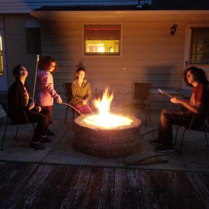 The Sachs-Keleti family bonfire in Wilmington, Delaware. From left: Alan Sachs, Tamar Keleti, Yehudit Keleti and Ethan Sachs