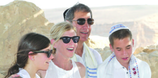 From left: Georgia, Robbie, Mike and Lucas Tollin, at Masada