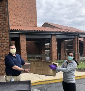 PPE drop-off at Jefferson Torresdale Hospital by Alyssa Gabay (right).