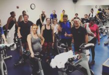 Brian Steiner (front right) gives the thumbs up after teaching another grueling spinning class_ he teaches regularly at PSC in Radnor and at Rodin Place, LifeSport Fitness in Fairmount and AFC Fitness in Bala Cy