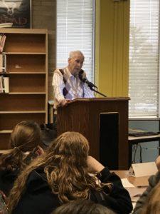 Holocaust survivor Ralph Franklin speaks to students at Abington Junior High School in January.
