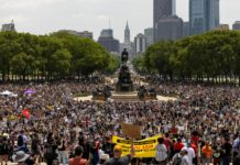 huge crowd of protesters gathered on Philadelphia Parkway