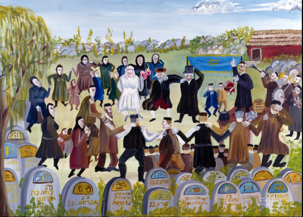 painting of people at a wedding in a graveyard