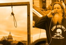 split image of a noose in a gallows and a man wearing a sweatshirt saying Camp Auschwitz