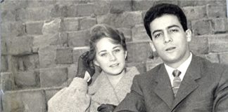 young woman and man in black and white photo