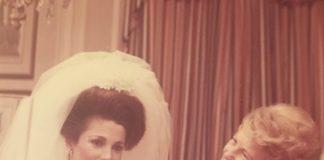 Old photo of Tovah Feldshuh's mother adjusting her daughter's veil
