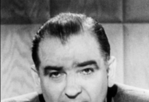 Black and white headshot of Sen. Joe McCarthy