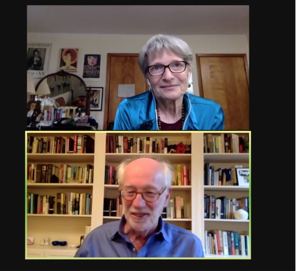 Screenshot of a man and a woman on a Zoom call